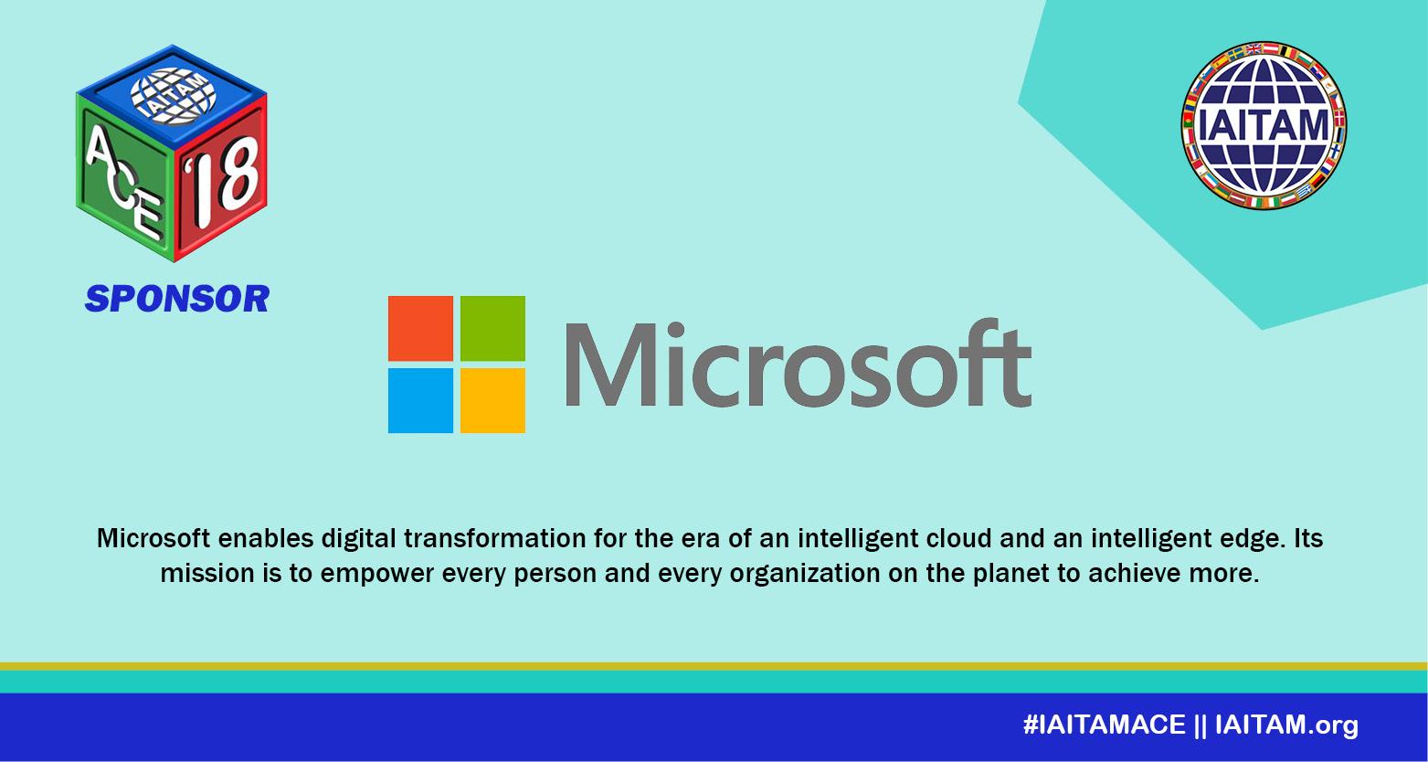 Thank you Microsoft Corporation, Sponsor at the IAITAM ACE!